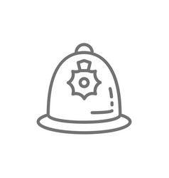british police helmet police cap line icon vector image