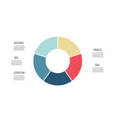 Business infographics circle with 5 parts vector