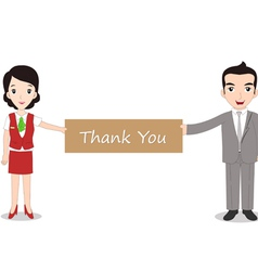 Businessman and businesswomen holding Thank you vector