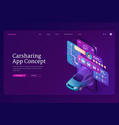 carsharing app concept isometric landing page vector image