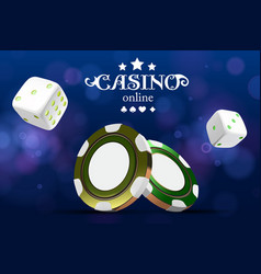 casino poker chips and dice casino game 3d chips vector image