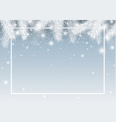 Christmas background of pine leaves with snow vector