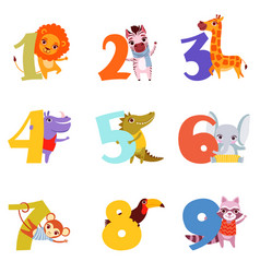 Colorful numbers from 1 to 9 and animals cartoon vector