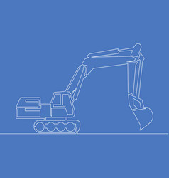 Continuous one line art drawingbackhoe vector