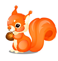cute animated fluffy squirrel and nut isolated on vector image