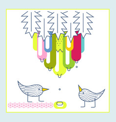 cute birds exotic fruit water drops baby shower vector image