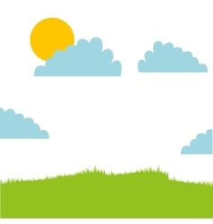Cute field landscape icon vector