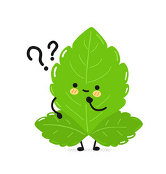 Cute funny stevia leafs character with question vector