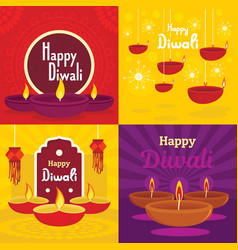 Diwali banner set flat style vector