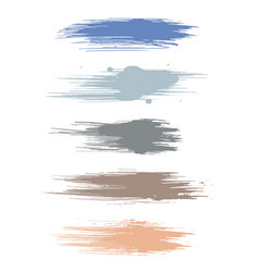 Earth tone watercolor brush strokes isolated on vector