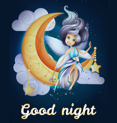 fairy siiting on moon vector image