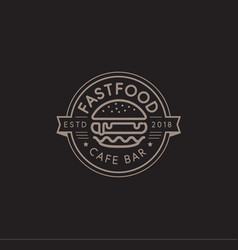 Fast food logo template hot burger linear vector
