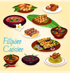 Filipino national cuisine dishes and desserts vector
