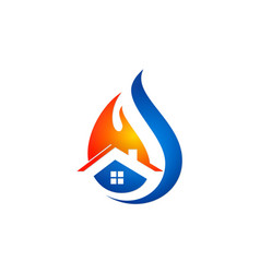 Fire house water drop logo vector
