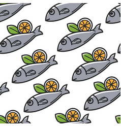 Fish with lemon greek food and cuisine seamless vector
