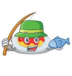 Fishing spaghetti character cartoon style vector