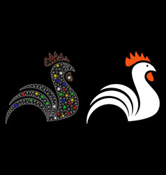 Flare mesh 2d rooster icon with flare spots vector