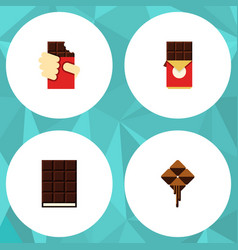 Flat icon bitter set of chocolate bar delicious vector