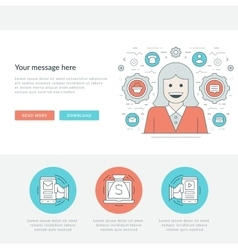 Flat line personal manager concept vector