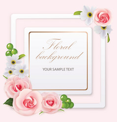 Floral background with roses anemones and frame vector