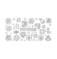 future in thin line style ai vector image
