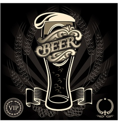 Glass of beer on a black background for the menu vector