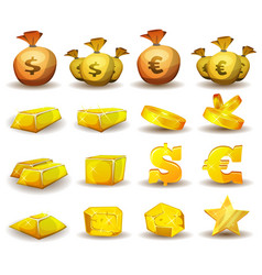 Gold credit money coins set for game interface vector