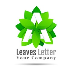 Green eco letters A logo with leaves symbol vector image