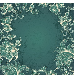 Green floral Victorian background vector