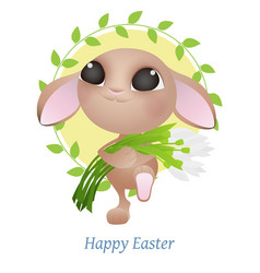 Greeting card with easter rabbit funny easter vector
