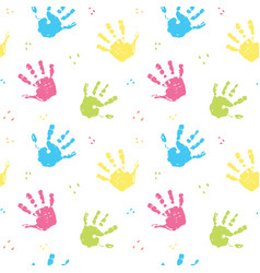Hand stamp seamless pattern paint stain background vector