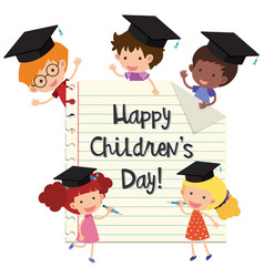 Happy childrens day with kids wearing graduation vector