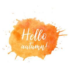 Hello autumn text plate autumn text vector