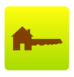 home key sign brown icon at green-yellow vector image