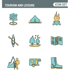 Icons line set premium quality of outdoor vector image