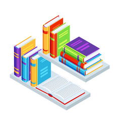 isometric books on bookshelves vector image