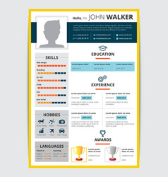 job candidate resume template vector image