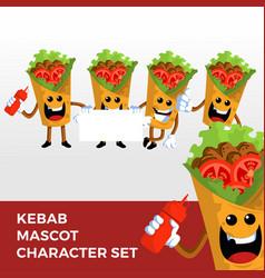 Kebab mascot character set logo icon vector