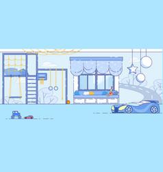 little boy bedroom modern interior flat vector image