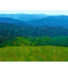 Low poly mountains with blue sky vector image