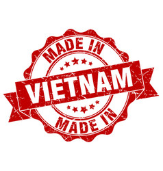 made in vietnam round seal vector image