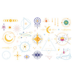 magic witchcraft wicca occult symbols signs set vector image