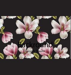 Magnolia background watercolor flowers vector