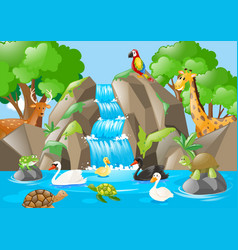many animals in the waterfall vector image