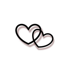 Marriage rings icon logo two interlocking hearts vector