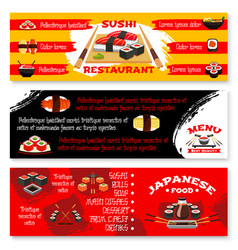 Menu banners for japanese sushi restaurant vector