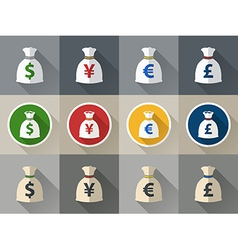 Money bag icon set with currency symbol vector image