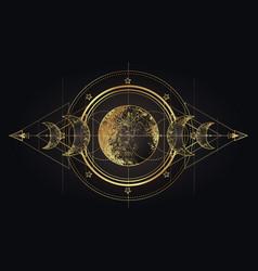 Moon magic triple moon pagan wicca moon goddess vector