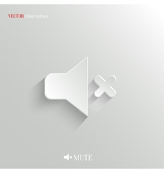 Mute icon - white app button vector image