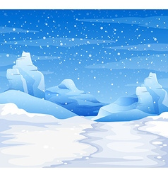 Nature scene with snow falling on ground vector